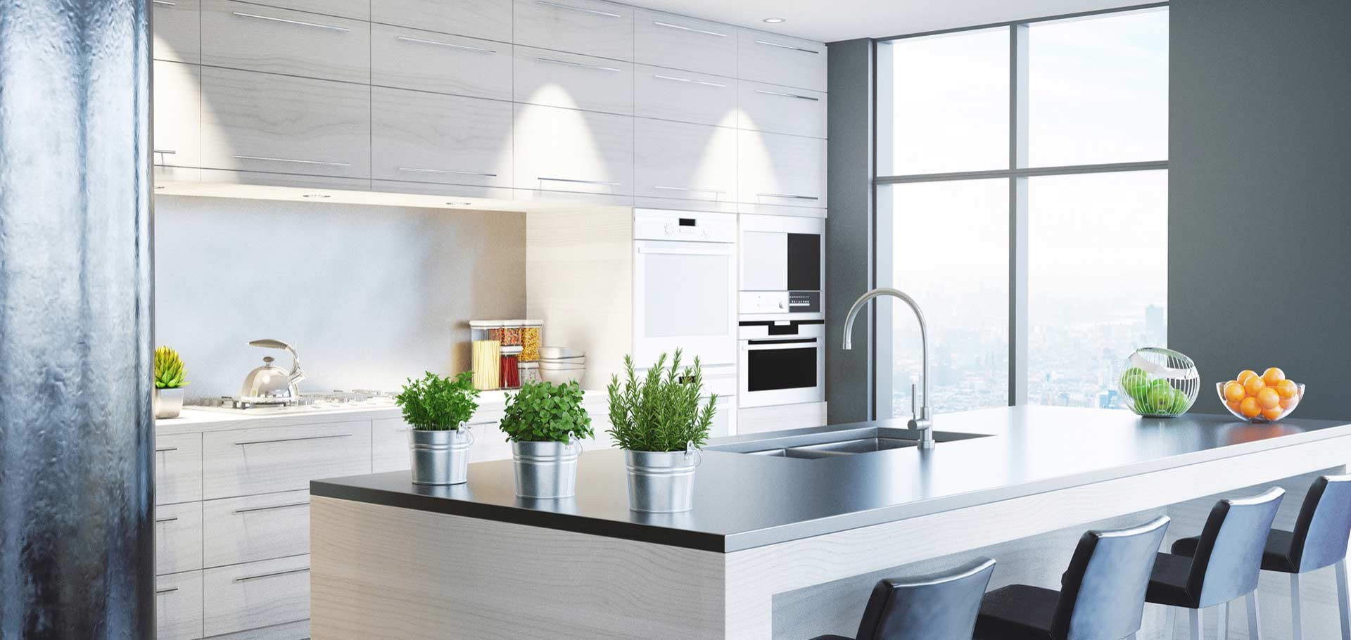 Cuisine moderne avec fenêtres